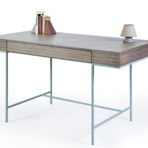Plywood office desk with grey tint. Metal base in breeze colour.