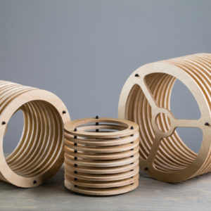 Lampshades from wooden rings in three different sizes.