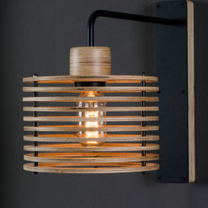 Wall lamp with medium size lampshade with natural tint.