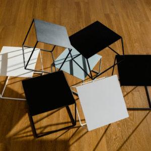 coffee table, metal cube