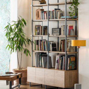 modular bookcase with cupboards